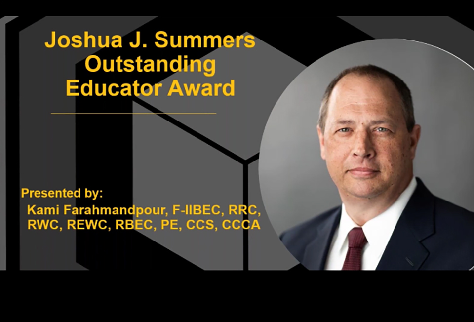 IIBEC Names Outstanding Educator Award for Joshua J. Summers